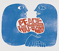 Peter Paul Piech print of two figures clasping hands taken from V&A Search the Collections