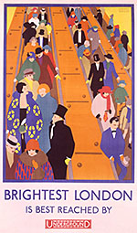 Brightest London is best reached by Underground poster of people on escalators by Horace Taylor taken from V&A Search the Collections