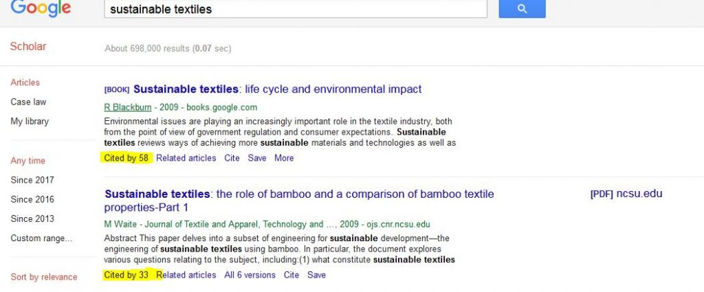 Google Scholar Search Example