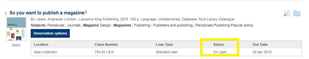 screenshot of item status on loan