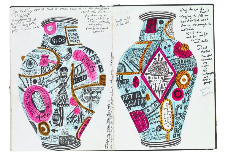 Example of a sketchbook page by Grayson Perry.