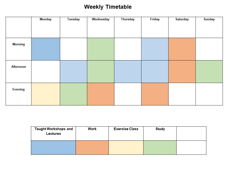Weekly time planner example with colour coding.