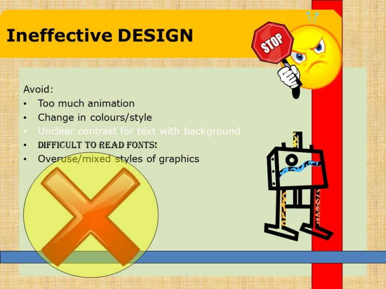 Ineffective slide design example with mixed graphics/colours, textured background and different to read fonts.