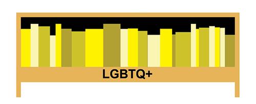 Graphic of LGBTQ+ shelf