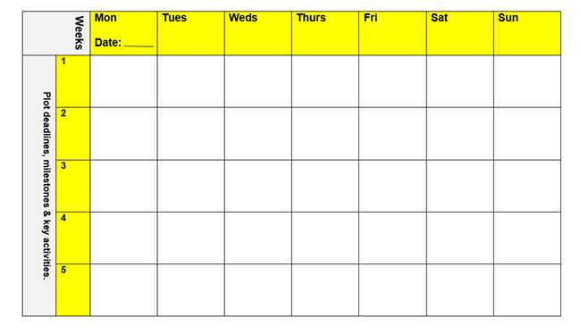 Monthly time planner example.